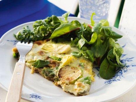 Recept på frittata. Italienskomelett med kronärtskocka. Lätt som en omelett och dessutom enkelt att variera med andra grönsaker som t ex sparris, spenat, lök eller kokt potatis.