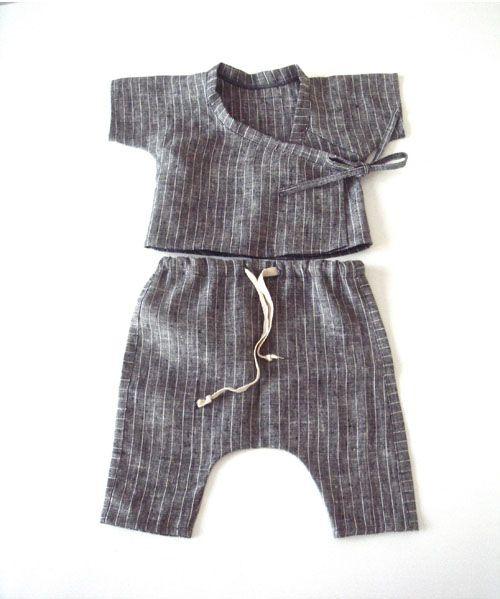 Idée couture pour bébé Lou (lin coloré, biais rigolo )
