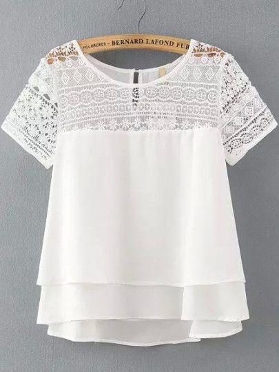 Resultado de imagen para blusas blancas con aplicacion en encajes