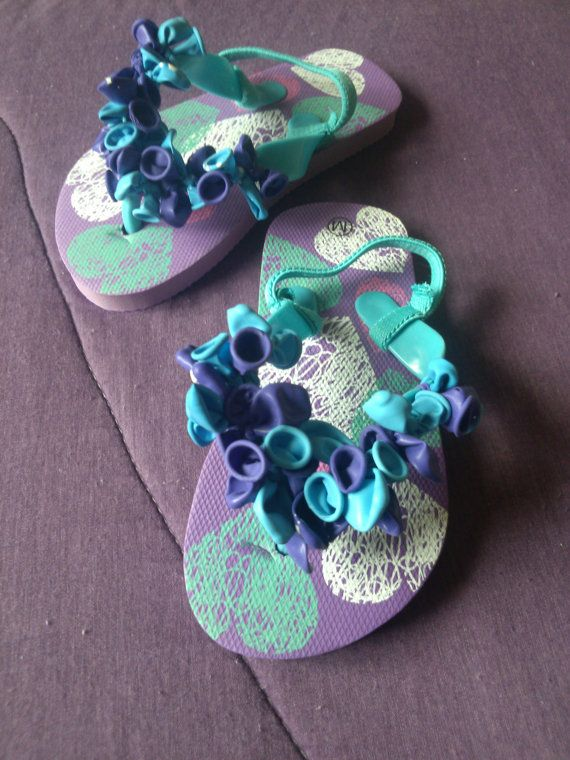 My mom hand decorated these kids flip flops. These are decorated with balloons. Check them all out they are adorable!