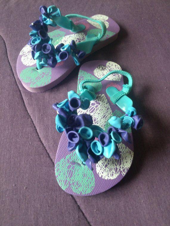 Balloon Flip Flops Little Girls Purple Flip Flops by 2Crafty4You