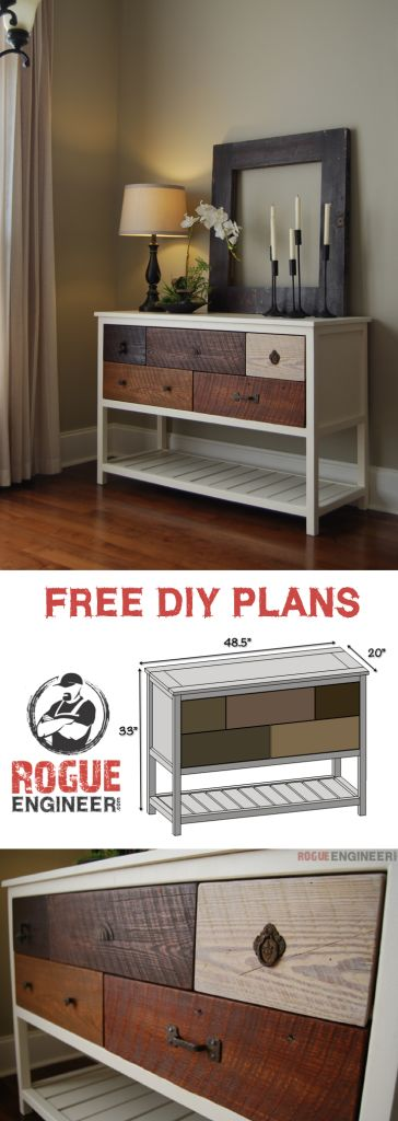 Free Console Table Plans | Rogue Engineer | rogueengineer.com #DIYconsoletables #livingroomDIYplans