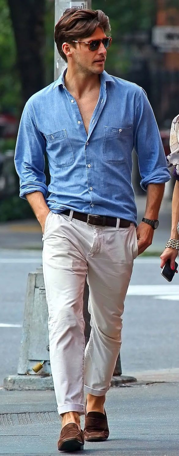 Shop this look for $148:  http://lookastic.com/men/looks/white-chinos-and-brown-loafers-and-dark-brown-belt-and-light-blue-longsleeve-shirt/1812  — White Chinos  — Brown Suede Loafers  — Dark Brown Leather Belt  — Light Blue Chambray Longsleeve Shirt