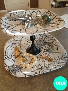 I have GOT to do this! DIY catch-all, jewelry catcher! I can get these items at the $1 store....