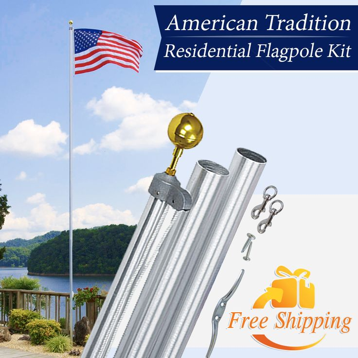 The American Tradition Flagpole Kit is the industry's premiere Residential Flagpole Kit. Manufactured to exacting specifications, this kit has been tested for wind speeds up to 80 mph while flying a 3' x 5' flag. Made in America!   #FlagCo #Flagpole #American #Tradition #MadeInAmerica