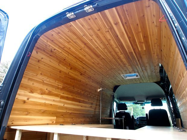 Cedar Panelling in Sprinter Camper Conversion. Apparently when they boil the kettle it smells like a sauna!!