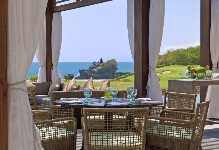 an outlook view to iconic Tanah Lot Temple from Merica Restaurant terrace