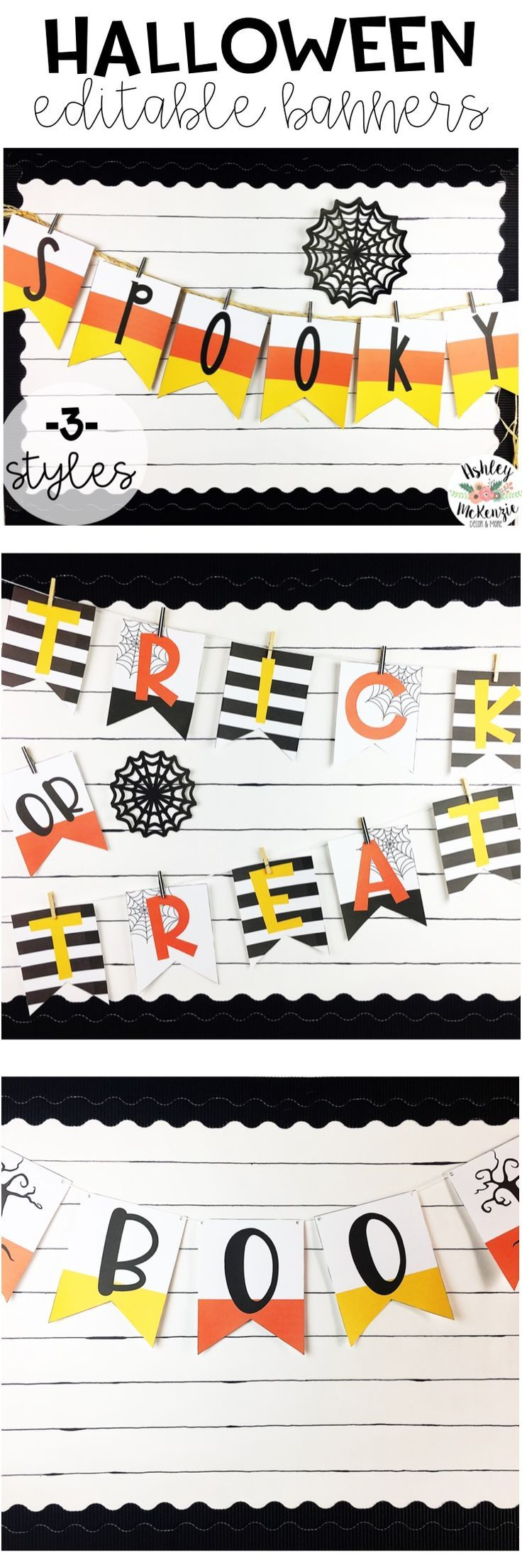 Editable Halloween Banners to decorate your classroom bulletin boards, doors, or even your home!