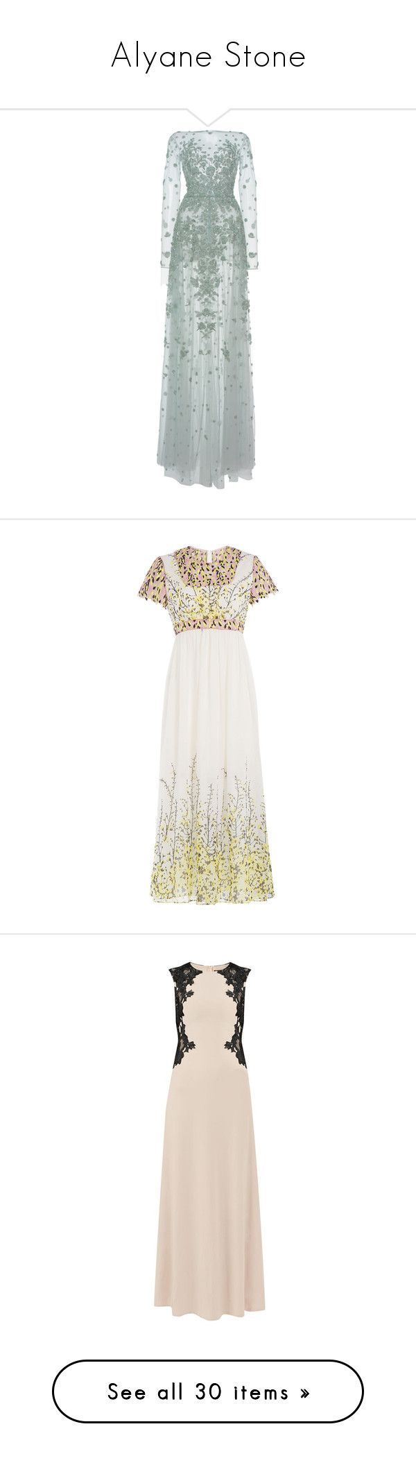 """""""Alyane Stone"""" by ofmonstersandmen1 ❤ liked on Polyvore featuring dresses, gowns, light blue, light blue long dress, green gown, floral print maxi dress, maxi dress, floral maxi dress, multicolor and white dresses"""
