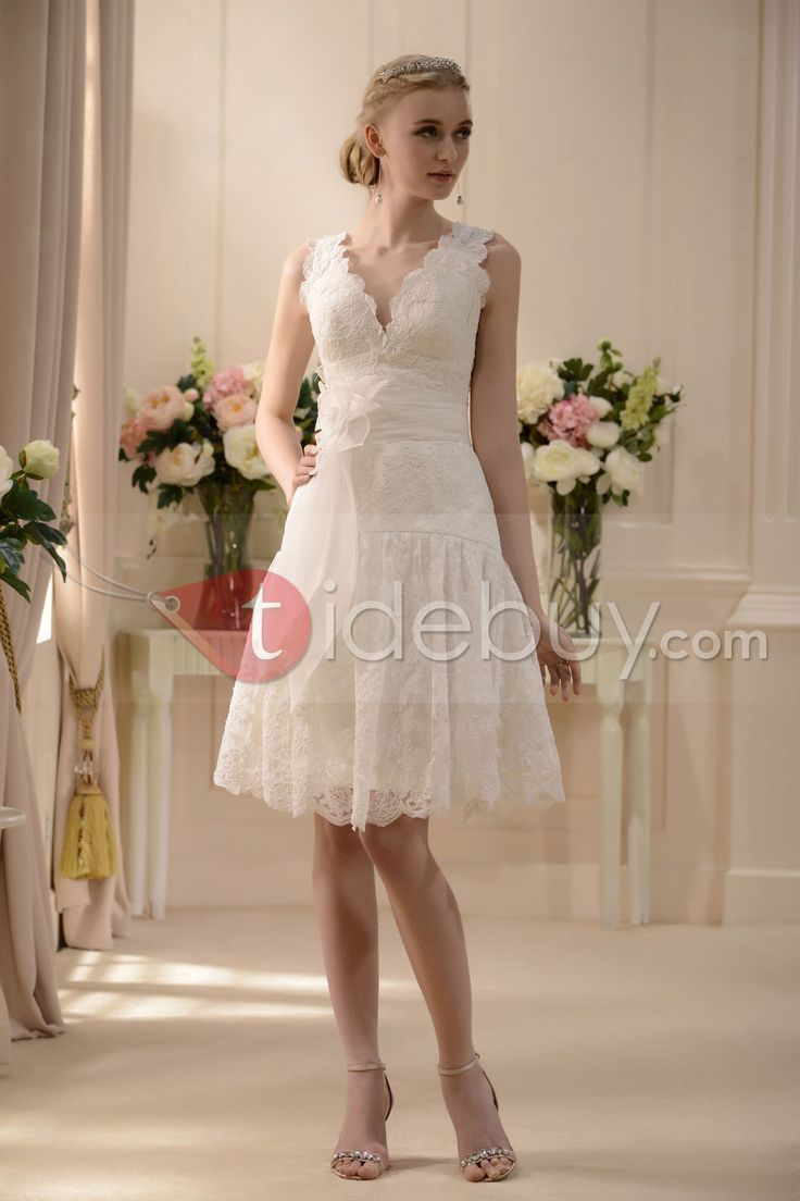 """I think this is the sort of dress that looks nice in the photo, but might look terrible on... I'd love to find something like this for my anniversary, though. """"Fabulous V-neck Knee-Length Sash Lace Wedding Dress : Tidebuy.com"""""""
