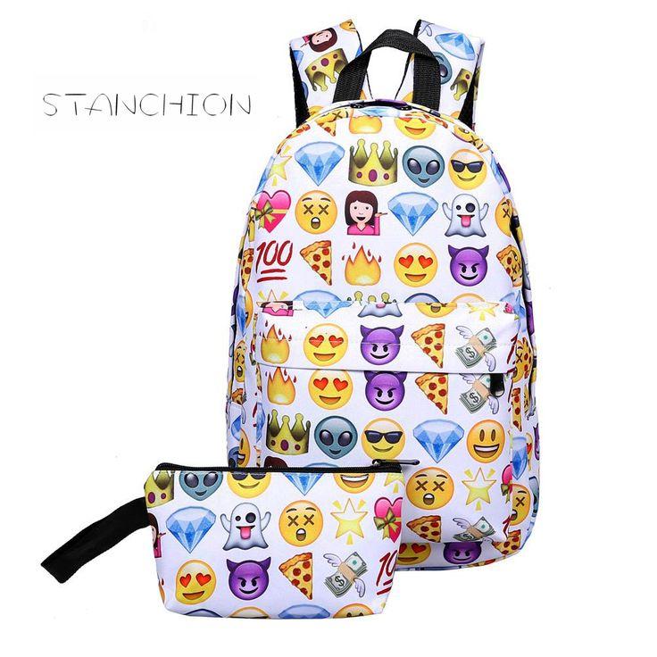 Backpack Leisure Waterproof Nylon Travel 3D Smiley Emoji Face Printing School Bag for Teenage Girls #Affiliate