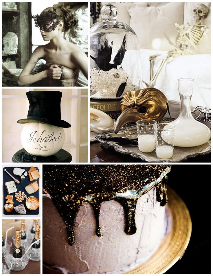 spooky chic black and gold halloween party inspiration from one charming life - Chic Halloween Decor