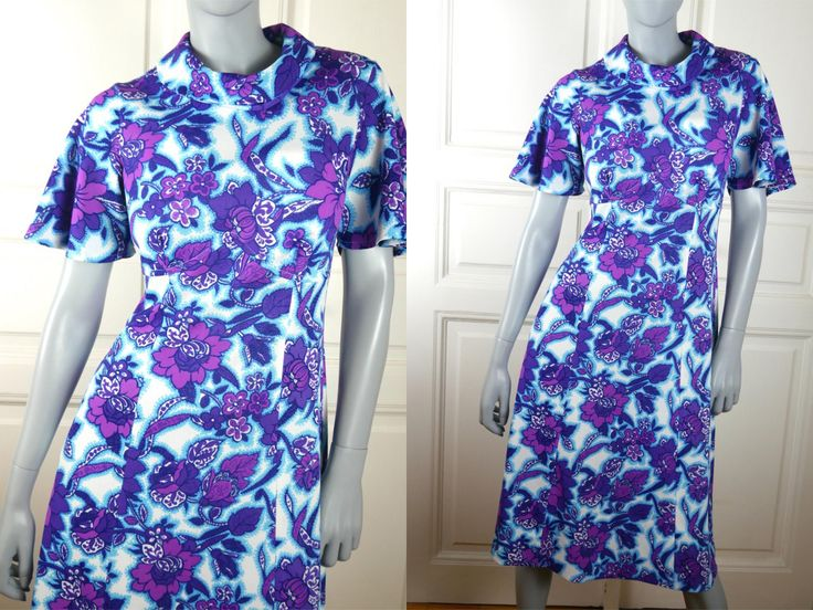 European Vintage 1960s Midi Dress, Turquoise Lavender Violet Floral Pattern Cowel Neck Short-Sleeve Dress: Size 8 US, Size 12 UK by YouLookAmazing on Etsy