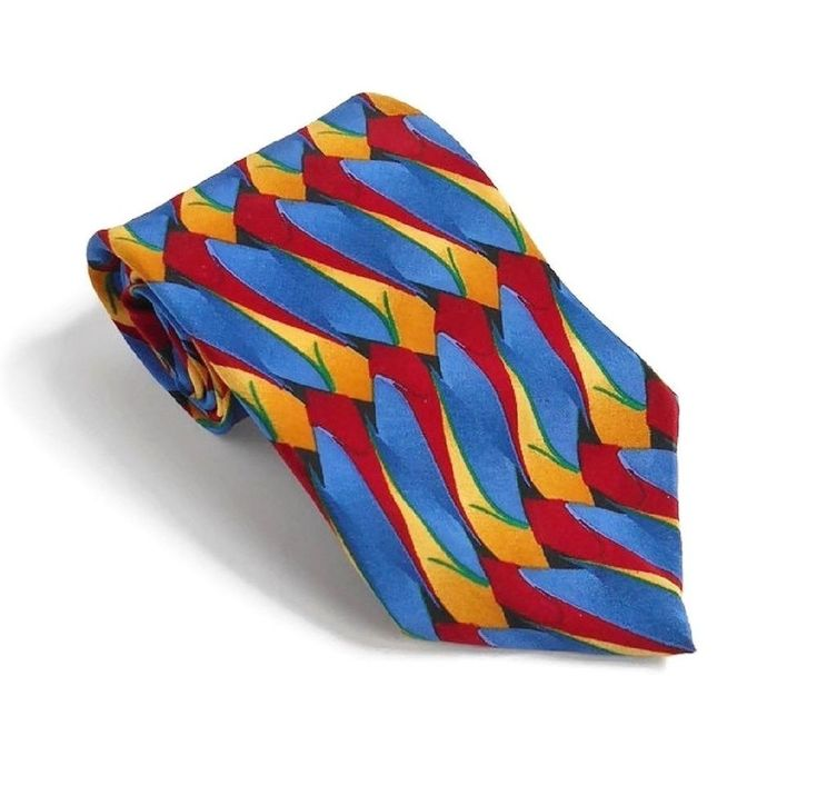 Bright Color SILK TIE Signed Jimmy V Blue Red Yellow, The V Foundation 3.5 x 56 #JimmyV #Tie