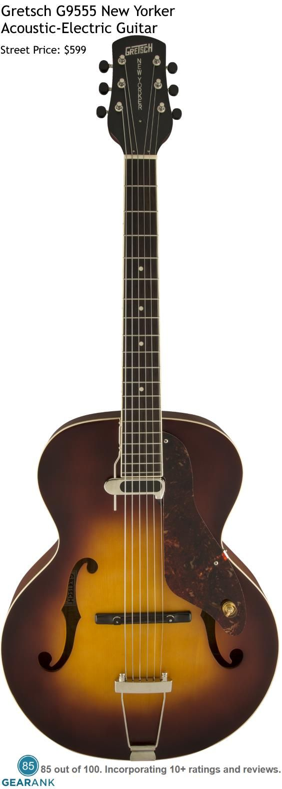 Gretsch G9555 New Yorker. This is a modern release of the 1950s classic New Yorker.  Street Price $599.  For a detailed Guide to Acoustic Guitars see https://www.gearank.com/guides/acoustic-guitars