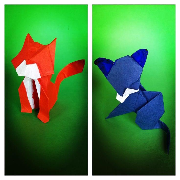 Gatto  cat by Daniela Carboni left - gatto . Cat by Edwin Corrie. Folded by me with tant paper dal Quadrato Magico 112 notiziario del CDO Italia (centro diffusione origami) #origami  #plier #piegarecarta #fold #fold #piegare #origamipaper #folding #carta #paper #papiroflexia #papel #piegarelacarta #orogamiart #origamilove #folded #animali #animals #origamianimal #cat #gatto #gatti #CDO