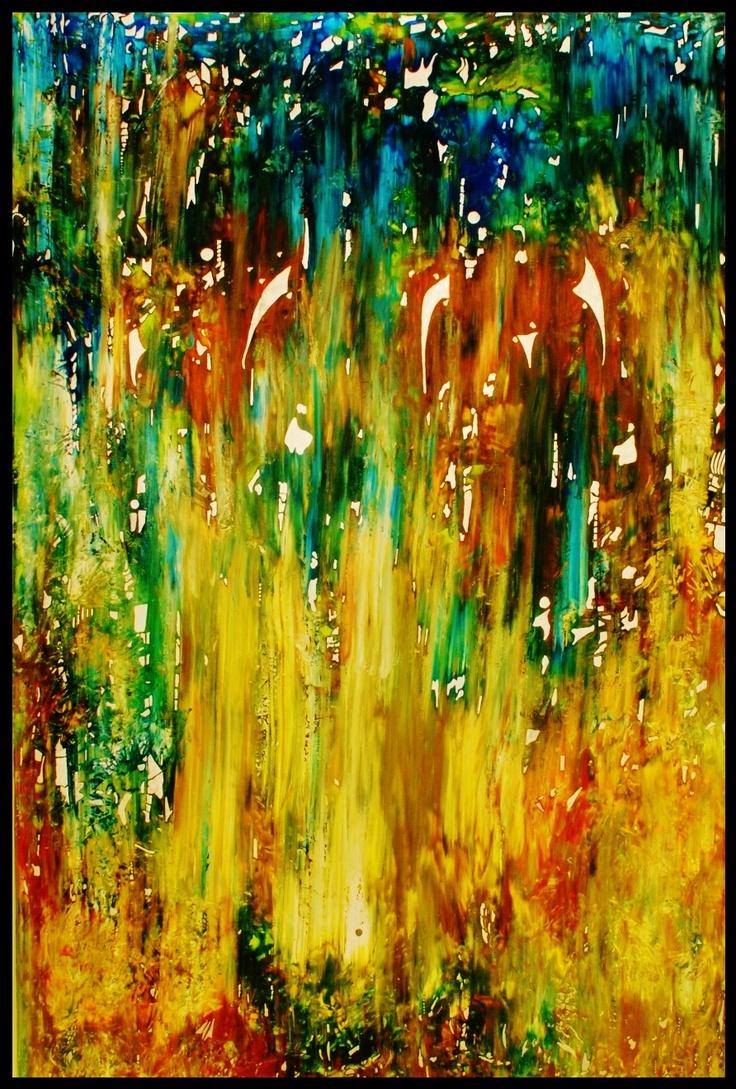 Orange Elephant - Hesham Malik. Mixed media on canvas. 150 x 100 cms