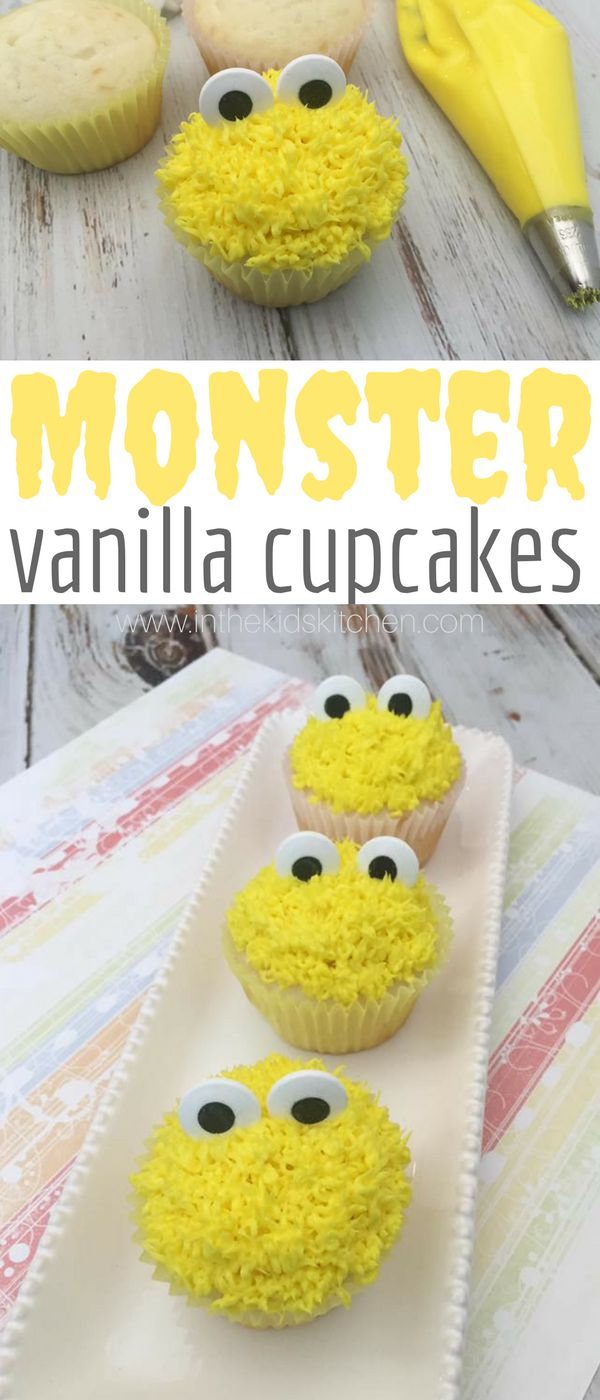Easy & festive Big Bird cupcakes with from scratch vanilla white cupcakes and yellow buttercream frosting - perfect for a Sesame Street kids birthday party!