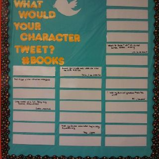 Middle school bulletin board. Students can write a 140-character tweet from their character's POV. Can change every week.