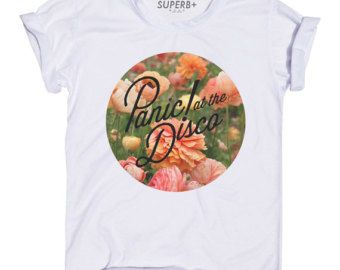 Floral Style Panic At The Disco T-Shirt, White Cotton Blend, Unisex SIZE S M L XL