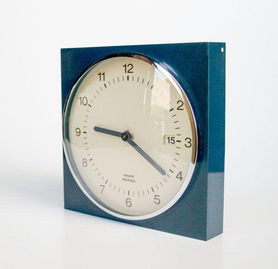 Navy Blue Vintage Wall Clock Krups 70 S Germany Clock Vintage Wall Clock Wall Clock