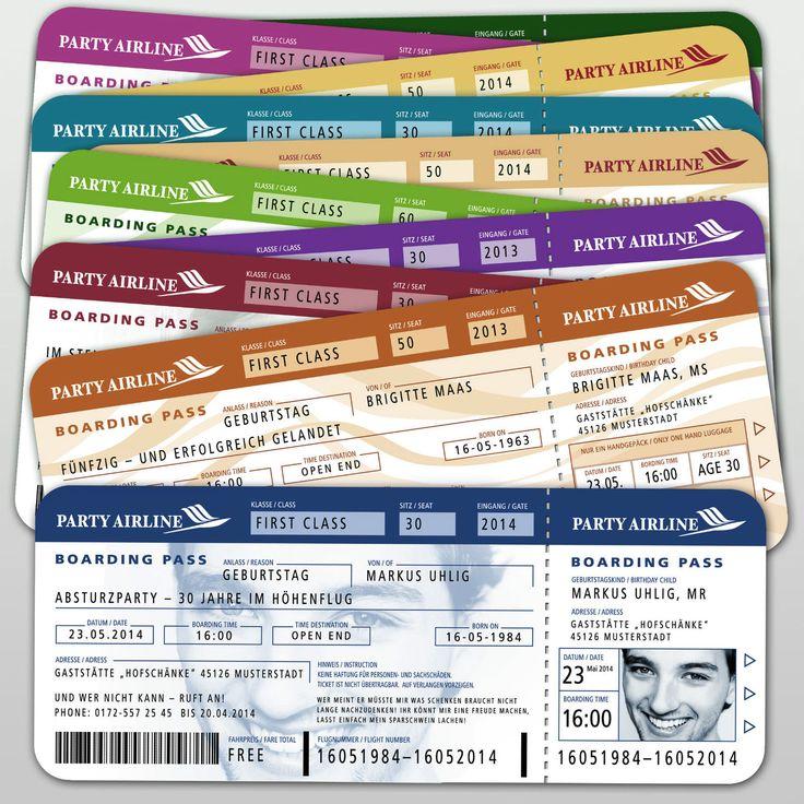 Einladungskarten Geburtstag Flugticket Ticket Boarding Pass mit Ihrem Bild