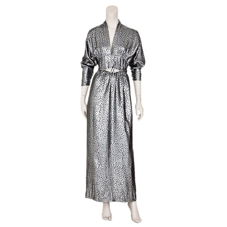 Adele Simpson silver lame animal print evening dress | From a collection of rare vintage evening dresses at https://www.1stdibs.com/fashion/clothing/evening-dresses/