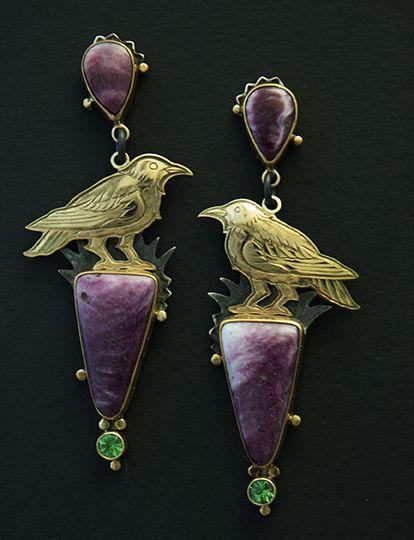 Raven earrings by Kit Carson. Gold, sugilite, green garnet