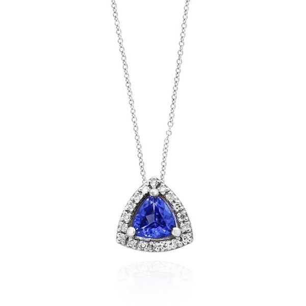 Effy  Tanzanite And Diamond Trillion Pendant Necklace In 14K White... (4.015 DKK) ❤ liked on Polyvore featuring jewelry, necklaces, tanzanite, 14k pendant, white gold pendant necklace, white gold diamond pendant, 14k white gold necklace and white gold chain necklace