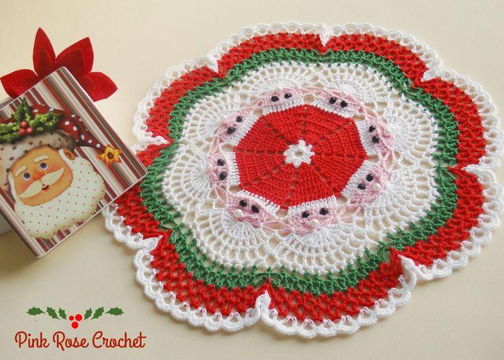 PINK ROSE CROCHET: Centrinho de Natal com Papai Noel