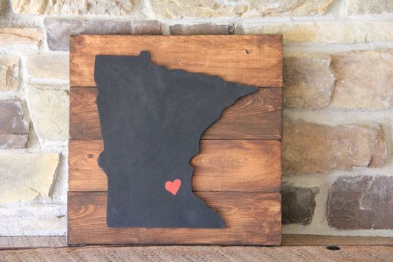 Should try to make this... Rustic Home State Sign  Minnesota Home Decor  by MySideOfTheGarage