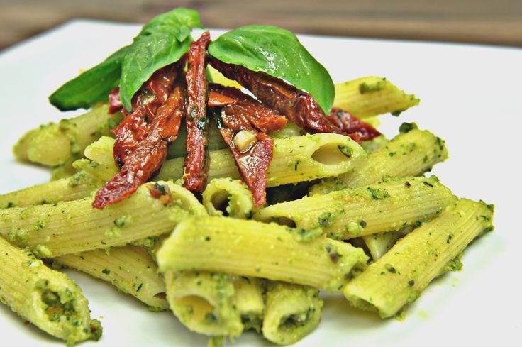Penne pasta with homemade pesto.