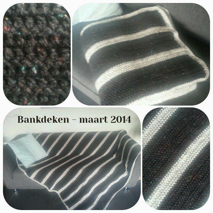 Gehaakte deken bestaande uit alleen stokjes, van tweed van de Zeeman