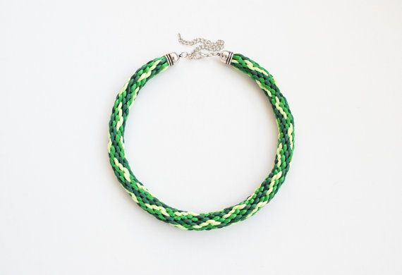Green kumihimo necklace shades of green chunky by elfinadesign, $22.00