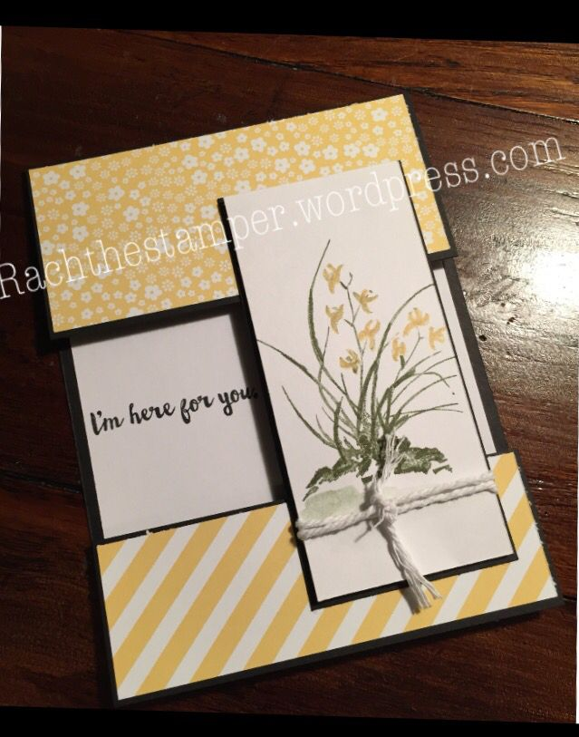Stampin up. Cut away card. So saffron. Artistically Asian stamp set. Whisper white. White thick bakers twine.