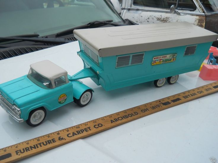 Vintage Toy Trucks Part - 31: PRESSED STEEL TIN METAL TOY TRUCK CAMPER 1960 FORD BY NYLINT TOYS  #NYLINTTOYS