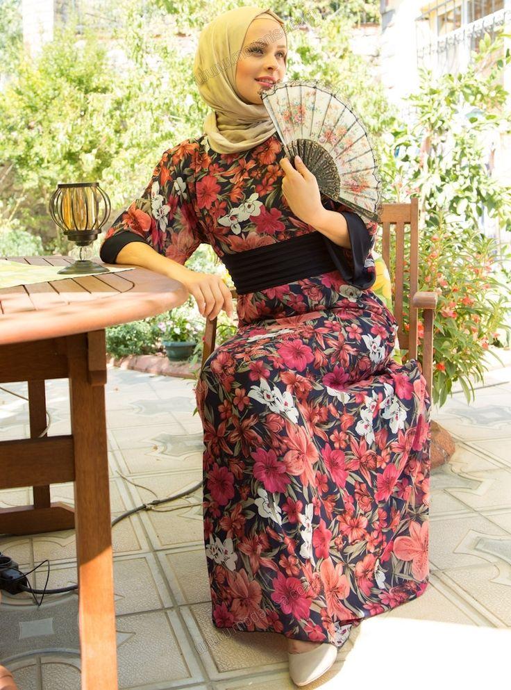 Fakir Kollu Desenli Elbise 31823 - Lacivert - Deniz Akdağ