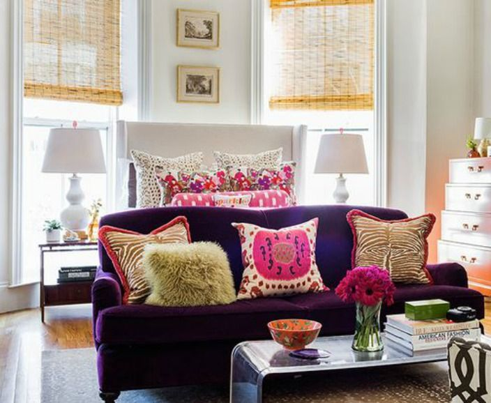 600 sq ft Bachelorette Pad packed with color and style! Interior by Katie Rosenfeld.