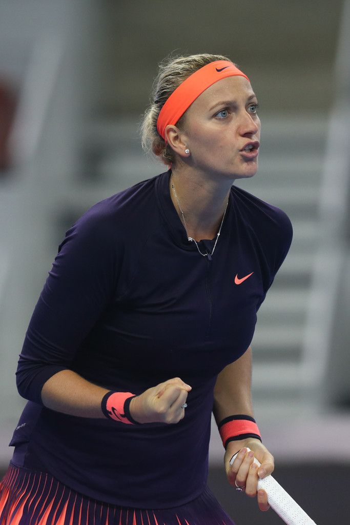 Petra Kvitova of Czech Republic reacts during the Women's singles third round match against Garbine Muguruza of Spian during  on day five of the 2016 China Open at the China National Tennis Centre on October 5, 2016 in Beijing, China.