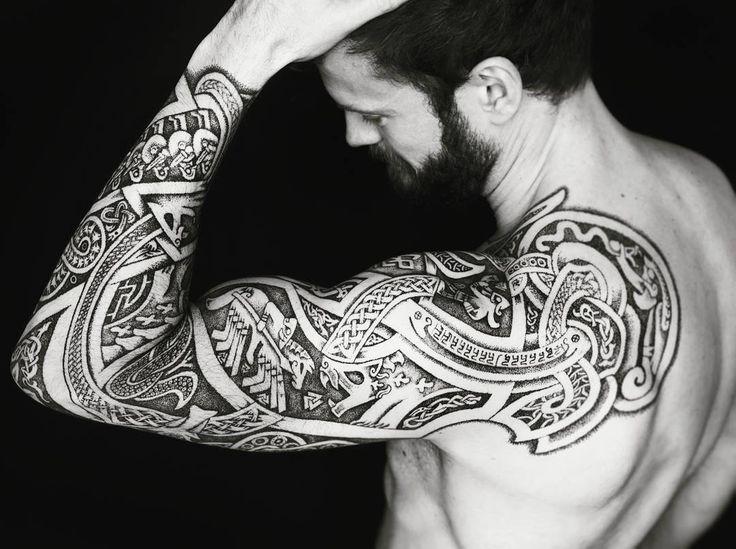 """56 Likes, 4 Comments - Tom Isaksen (@isaksen.tom) on Instagram: """"#tattoo #norsemythology #ragnarok #Jörmungandr #odin #fenris #meatshoptattoo #sleevetattoo"""""""