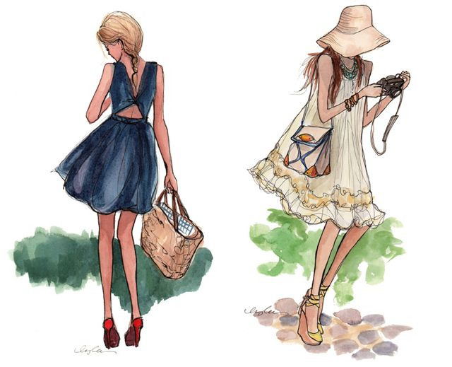 lovely fashion sketches by Inslee Hanes