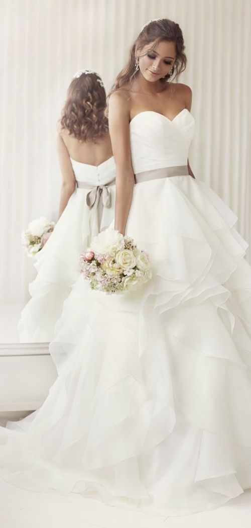 Asymmetric Tiers Chapel Train Ball Gown Organza Wedding Dress