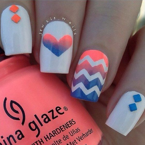 This works by covering the base with the patterned strips, then working on an ombre style on your nails. It goes the same with the heart shape design as well.