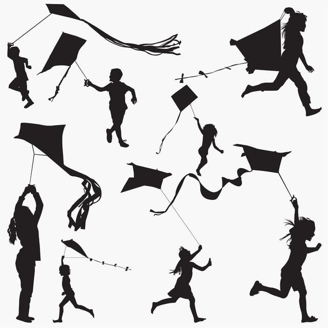 Silhouettes Fly Kite Boy Cartoon Child Png And Vector With Transparent Background For Free Download Kite Flyer Kite Hand Painted Textures