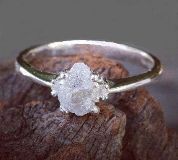 Natural rough diamond ring #forrestwedding #woodsywedding #bohowedding