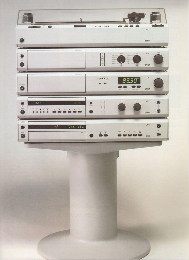 Braun HiFi-Anlage atelier 1980-1987, Design: Peter Hartwein (Anlage atelier)/Dieter Rams (Gerätefuß) Foto aus:Braun-Katalog 86/87  (Stand:März 1987)