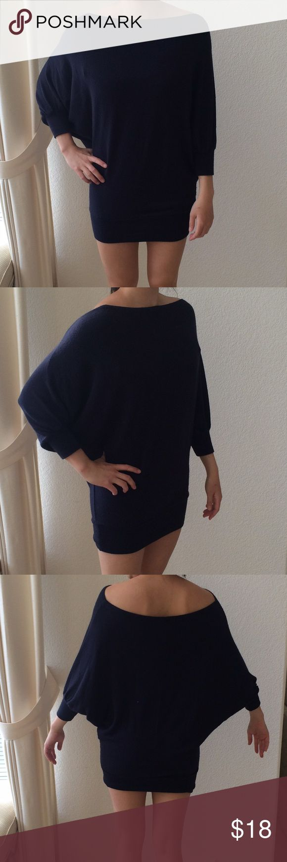 Brandy Batwing Dress Navy batwing dress with banded bottom. Got this in Florence. Can also be worn as a top. Made in Italy. Brandy Dresses
