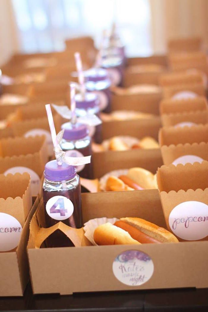 Snack boxes from Popcorn & Pajamas Purple Movie Night at Kara's Party Ideas. See it all at karaspartyideas.com!