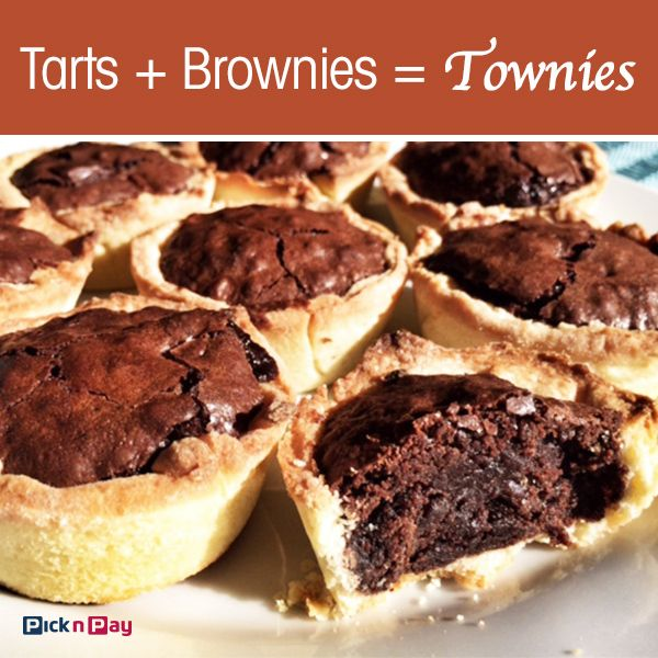 Brownie + tart = a dark, gooey, chocolatey centre in a sweet, crisp crust mmmm... We think the townie is a must! #townies #picknpay #freshliving