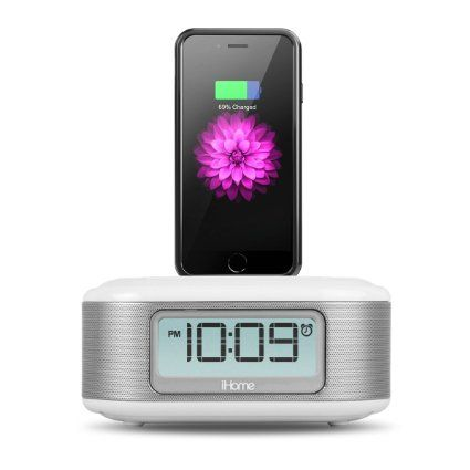 Amazon.com: iHome iPL23 Stereo FM Clock Radio with Lightning Dock Charge/Play for iPhone 5/5S 6/6Plus 7/7Plus with USB Out to Charge any USB Device -White: Home Audio & Theater